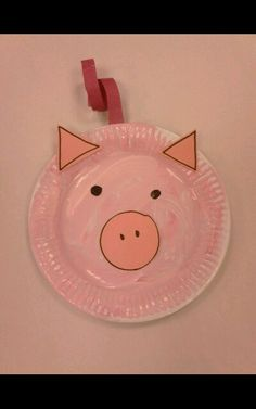 The Three Little Pigs, Shape Pig Face, Paper Plate. Pre School / Reception Class Activities.