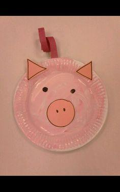 The Three Little Pigs, Shape Pig Face, Paper Plate. Pre School / Reception Class Activities.