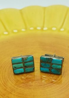 e3b20736 Old vintage turquoise and sterling silver cuff links