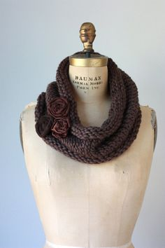 Chocolate Brown Chunky Knit Cowl with Fabric by TwoElephantsShop, $40.00