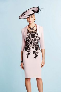 Ronald Joyce 991031 Structured Dress with Lace Overlay & Bolero Jacket in Pink/Navy