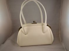 Vintage 1950s/1960s White Pleather Hand Bag on Etsy, $8.00