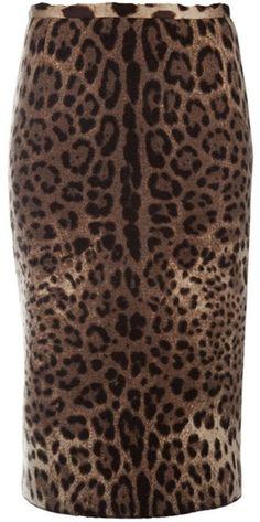 DOLCE & GABBANA Animal Leopard Print Pencil Skirt