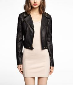 cropped faux leather jacket #studded #adorable
