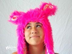 SUPER-KAWAII Pink Robots! Fuzzy Monster Aviator hat Pink BLACKLIGHT hat by MostlyMonstersCV