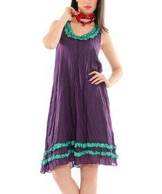 Purple & Turquoise Ruffle Shift Dress #zulily #zulilyfinds