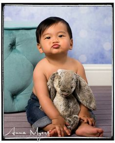 baby boy photography with cute bunny prop, in Bay Area