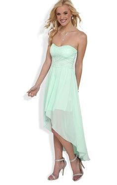 Deb Shops #mint Strapless High Low Dress with Lace Bodice $32.90