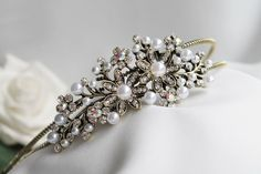Bridal Bridesmaid Prom - Pearl and Crystal Side Tiara headband NEW