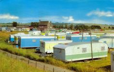 Late early postcard of holiday caravans at Blue Anchor, Seasalter, Whitstable, Kent, England. Vintage Caravans, Vintage Travel Trailers, Vintage Campers, Vintage Travel Posters, Vintage Postcards, Vintage Photos, Retro Caravan, Camper Caravan, Caravan Pictures