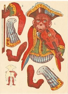 Vintage Scrap circus pirate monkey