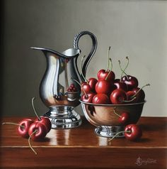 Jug with Cherries Silver Jug with Apricots Freshly washed ripe cherries. by Darren Muir - Stocksy United Silver Plate Fruit Photography, Still Life Photography, Landscape Photography, Portrait Photography, Fashion Photography, Wedding Photography, Still Life Pictures, Still Life Artists, Still Life Fruit