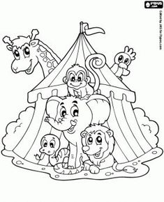 free coloring pages , coloring sheets , printable coloring pages Animal Coloring Pages, Coloring Book Pages, Colouring Pics, Coloring Pages For Kids, Coloring Sheets, Circus Art, Circus Theme, Circus Clown, Circus Activities
