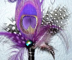 Purple Peacock boutonniere pin with natural by HappilyFeatherAfter, $15.95