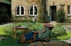 Rex Whistler - Edith Olivier on a Day Bed at the Rear of Daye House