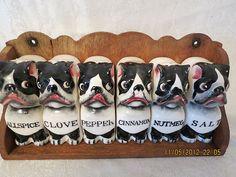 vintage1950s porcelain BULL DOG BOSTON TERRIER SPICE JAR SET wood rack COMPLETE | eBay