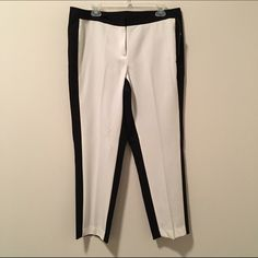 NWT!! Discounted Today!! Dressy Cropped pants by New Directions. Impulse buy that didn't fit well  Ivory front, black back. Very trendy and perfect for summer. Never worn, NWT. new directions Pants Ankle & Cropped