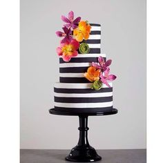 Beautiful Cake Pictures: Black & this would also look beautiful with cream and white stripes. White Striped Cake with Colorful Flowers: Cakes with Flowers, Colorful Cakes, Wedding Cakes