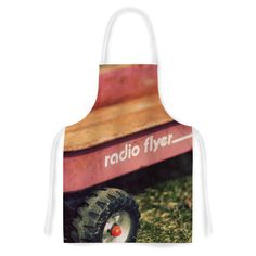 """Angie Turner """"Radio Flyer"""" Red White Artistic Apron"""
