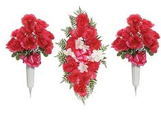 Teters Memorial CMB0002FHCOM 26 Rose Headstone Spray and 24 Cemetery Vase Arrangement Combination Fuchsia -- See this great product.