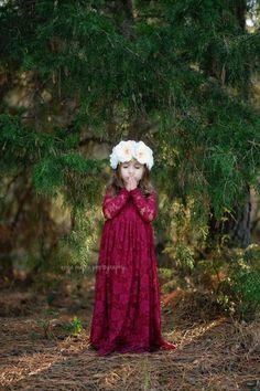 Burgundy Sweetheart Dress Flower Girl Wedding by KutieTuties