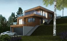 Architectural design is a concept that focuses on components or elements of a structure. An architect is generally the one in charge of the architectural design. Modern Architecture House, Modern House Design, Architecture Design, Houses On Slopes, Haus Am Hang, Residential Building Design, Townhouse Designs, Casas Containers, Hillside House
