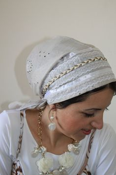 fancy Tichel Hair Snood Head Scarf Bandana no need to wrap just tie in the back. $36.02, via Etsy.