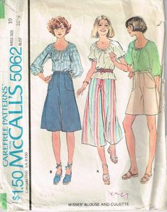 4126 Vintage Butterick Sewing Pattern Misses Top Skirt Shorts Pants Classic Easy