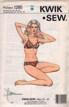 b1b4629b40 Kwik Sew 1285 1980s Misses Lace BRA and Bikini PANTIES womens vintage  lingerie sewing pattern by