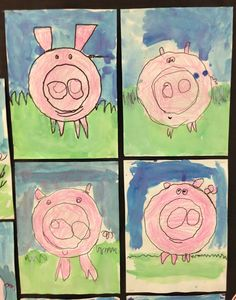 "Kindergarten Project to discuss shape, color and Line. This would be a great project to make after reading the Book,""King Pig"" for Book Week."