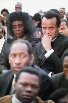 Powerful photo of Harry Belafonte & Coretta Scott King at Dr King's funeral, Atlanta, Georgia, 1968