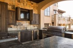 Rustic Lodge style home - Rustic - Kitchen - Houston - Collaborative Design Group-Architects & Interiors