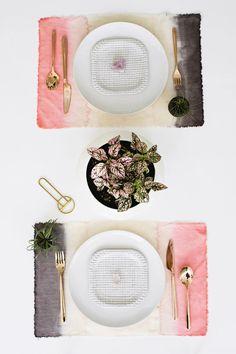DIY dip dye placemats   designlovefest