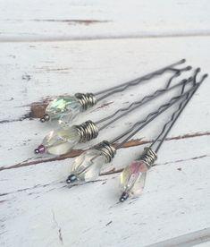 Glass bead and pewter boho wedding hair pins. by Crushed Cameo #bohobride #bohoweddingaccessories