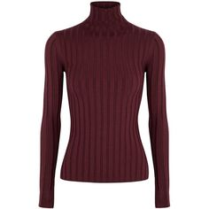 Acne Studios Burgundy Ribbed Roll-neck Jumper - Size S ($340) ❤ liked on Polyvore featuring tops, sweaters, jumpers sweaters, ribbed top, rib sweater, rib top and roll neck jumper