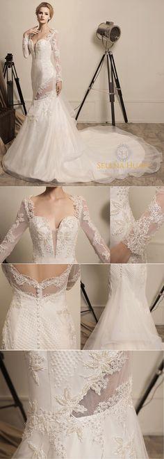5d4dc289e088a Girl Under the Grape Vine - Selena Huan Beaded Lace Long Sleeve Illusion  V-Neck Sheath Gown