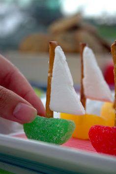 squar, sailboats, sail boats, sea, sailboat party ideas, preschool books, pretzels, marshmallows, parti