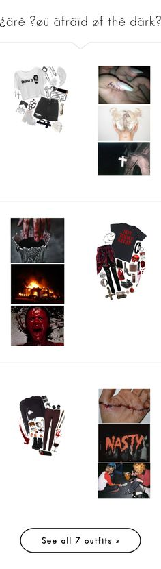 """¿ãrê ŷøü ãfrãïd øf thê dãrk?"" by jinxofthedead ❤ liked on Polyvore featuring McCoy Design, Eternally Haute, StyleNanda, Religion Clothing, Iron Fist, Topshop, Rival, INC International Concepts, Hannah Martin and 3:10"