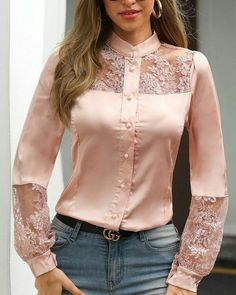 Lace Patchwork Long Sleeve T Shirt Women Single Breasted Pink Tshirt Elegant Office Ladies Work Wear Shirts Blusa Femme, PINK / M - Lace Patchwork Long Sleeve T Shirt Women Single Breasted Pink Tshirt Elegant Office Ladies Work Wea - Blouse Styles, Blouse Designs, Trend Fashion, Womens Fashion, Modest Fashion, Fashion Dresses, Outfit Trends, Satin Blouses, Pattern Fashion