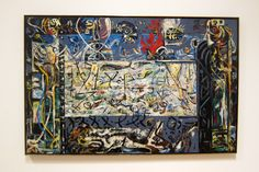 From San Francisco Museum of Modern Art (SFMOMA) , Jackson Pollock, Guardians of the Secret Oil on canvas, 48 × 75 in Action Painting, Drip Painting, Jackson Pollock, What Is Surrealism, Pollock Paintings, Lee Krasner, Robert Motherwell, San Francisco Museums, Willem De Kooning