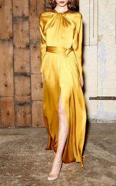 Satin Dresses, Elegant Dresses, Silk Dress, Dress Up, Girl Fashion, Fashion Dresses, Fashion Design, Yellow Skirt Outfits, Marigold Dress