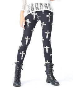 Ivory & Black Cross Leggings | Daily deals for moms, babies and kids