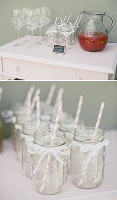 Mason jar glasses with pink striped straws and lace bows. BABY SHOWER