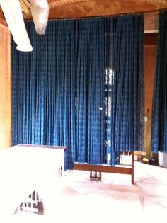 Hand woven, hand dyed 100% silk curtains. Ready to be taken from the workshop and installed.