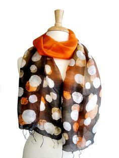 Amber Pebbles Thai Silk Art Narrow Scarf