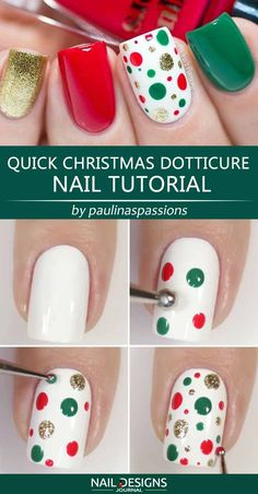 So Simple Christmas Nail Art Ideas You Have To Try - Quick Christmas Dotticure Nail Tutorial ❤ 25 Charming Christmas Nail Art Ideas You'll Adore ❤ - Xmas Nail Art, Cute Christmas Nails, Christmas Nail Art Designs, Xmas Nails, Holiday Nails, Diy Nails, Manicure Ideas, Christmas Ideas, Christmas Manicure
