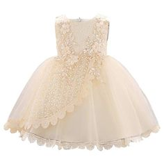 iixpin Infant Baby Sleeveless Bowknot Lace Embroidered Tiered Flower Girl Dress Bridesmaid Wedding Baptism Formal Ball Gown