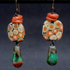 Coral Sea earrings - coral colors - blue green burnt orange - shiny matte - glass and clay - underwater scene - deep sea - art artisan beads