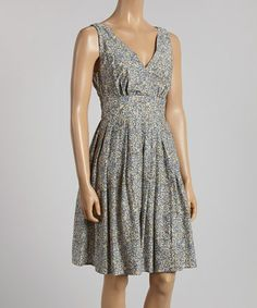 Another great find on #zulily! Navy Floral Pleated Sleeveless Dress #zulilyfinds