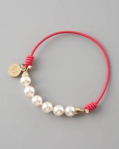 Majorica Elastic Pearl Bracelet, Fuchsia - Neiman Marcus